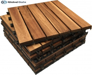 Hot trend hardwood flooring with Acacia wood deck tiles in summer